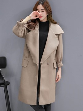 Ericdress Solid Color Loose Pocket Turn-Down Coat
