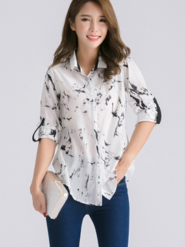 Ericdress Roll Sleeve Printed Blouse