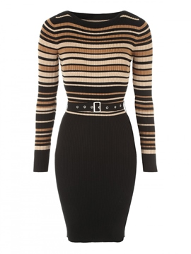 Ericdress Belt Round Neck Striped Sweater Dress
