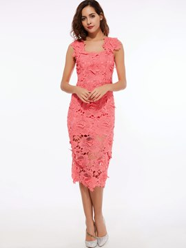 Ericdress Square Neck Soild Color Spaghetti Strap Lace Dress