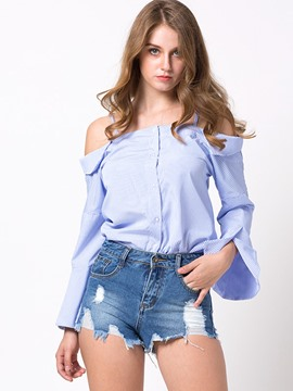 Ericdress Slash Neck Blue Blouse