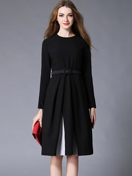 Ericdress Color Block Patchwork Pleated Belt Casual Dress