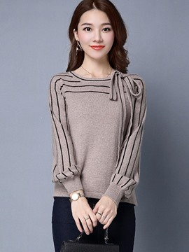 Ericdress Tie Side Stripe Knitwear