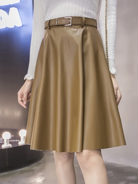 Ericdress PU Pleated High-Waist Usual Skirt