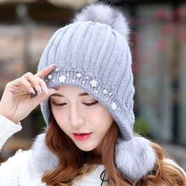 Ericdress Pearl & Flower Embellished Rabbit Hair Knitted Hat