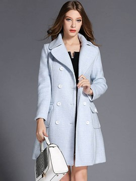 Ericdress Single-Breasted Slim Solid Color Coat