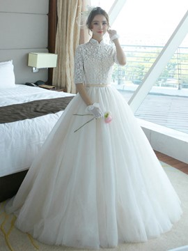 Ericdress Vintage High Neck Half Sleeves Ball Gown Wedding Dress