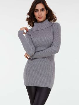 Ericdress Lapel Solid Color Slim Above Knee Sweater Dress