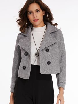 Ericdress Notched Lapel Double-Breasted Overcoat