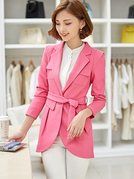 Ericdress Solid Color Slim Pleated Blazer