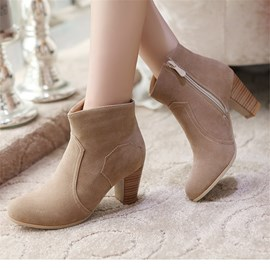 Ericdress Pretty Side Zipper Chunky Heel Ankle Boots