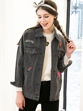 Ericdress Loose Single-Breasted Denim Outerwear