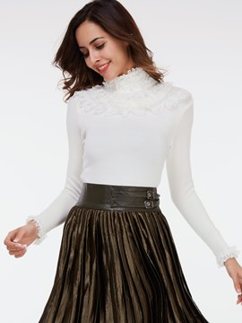 Ericdress White Turtle Neck Lace Patchwork Knitwear