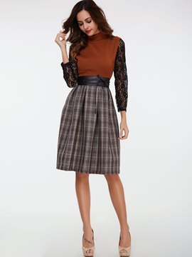 Ericdress Plaid Color Block Lace Leisure Suit