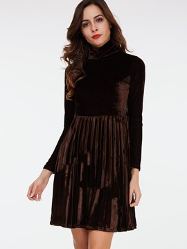 Ericdress Heap Collar Pleated Patchwork Casual Dress