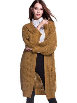 Ericdress Solid Color Cardigan Long Knitwear