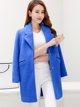 Ericdress Straight Solid Color One-Button Lady Coat