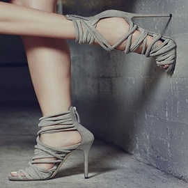 Ericdress Gray Strappy Peep Toe Stiletto Sandals