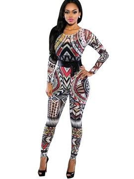 Ericdress Geometric Print Backless Skinny Jumpsuits Pants