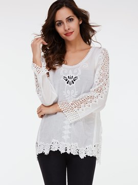 Ericdress White Lace Crochet Blouse