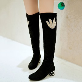 Ericdress Rhinestone Block Heel Knee High Boots