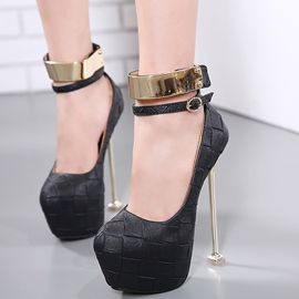 Ericdress Fashion Plaid Platform Metal Ankle Strap Prom Shoes