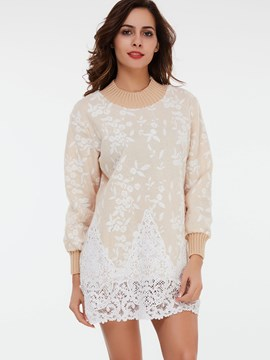 Ericdress Straight Floral Printed Lace Patchwork Hoodie