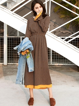 Ericdress Flare Sleeve Patchwork V-Neck Houndstooth Maxi Dress