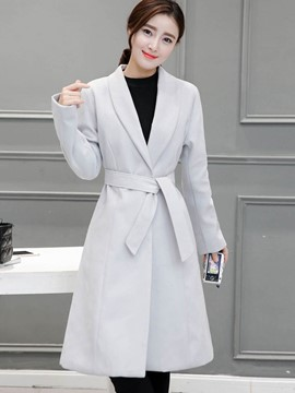 Ericdress Turn-Down Slim Belt Plain Coat