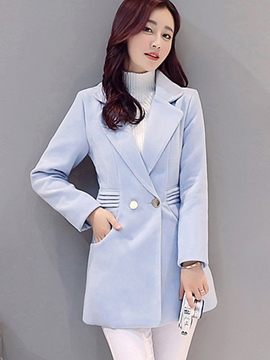Ericdress Solid Color Pleated Polo Coat