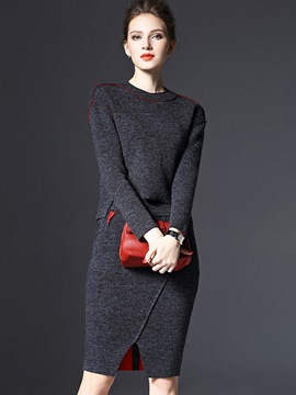 Ericdress Solid Color Long Sleeve Skirt Suit