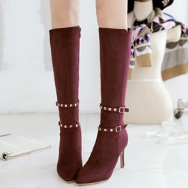 Ericdress Sexy Rivets Point Toe Knee High Boots