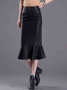 Ericdress PU High-Waist Fishtail Skirt
