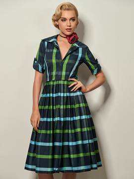 Ericdress Lapel Plaid Pleated Knee-Length Casual Dress