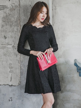 Ericdress Wave Cut Round Collar Pleated Patchwork Little Black Dress