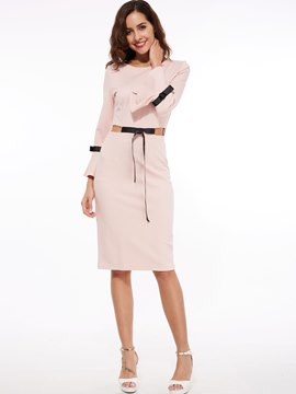 Ericdress Flare Sleeve Bowknot Patchwork Round Neck Sheath Dress