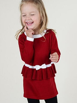 Ericdres Plain Falbala Christmas Girls Dress