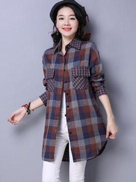 Ericdress Plaid Pocket Casual Blouse