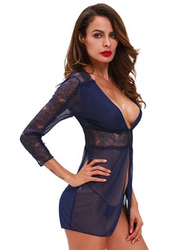 Ericdress Sexy See-Through Deep V-Neck Babydoll