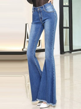 Ericdress Tassel Patchwork High-Waist Bellbottoms Jeans