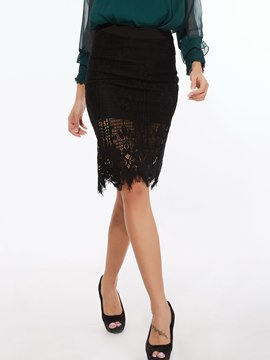 Ericdress Floral Hollow Lace Bodycon Usual Skirt