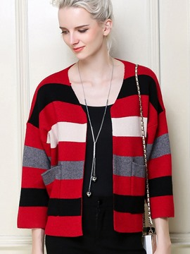 Ericdress Stripe Cardigan Crop Knitwear