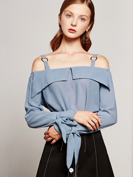 Ericdress Solid Color Off-Shoulder Strapped Blouse