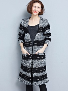 Ericdress Stripe V-Neck Cardigan Knitwear