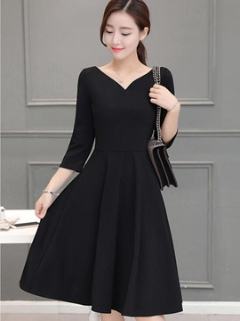 Ericdress V-Neck Pleated Patchwork Nine Points Sleeve Little Black Dress