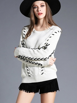 Ericdress Color Block Round Neck Knitwear