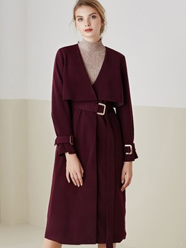 Ericdress Solid Color V-Neck Slim Trench Coat
