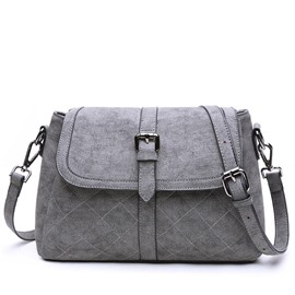 Multi-Layer Plaid Embossed Crossbody Bag