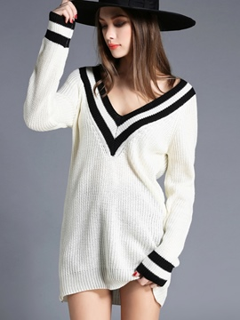 Ericdress Big V-neck Pullover Knitwear