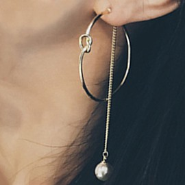 Ericdress Pearl Chain Big Circle Earrings